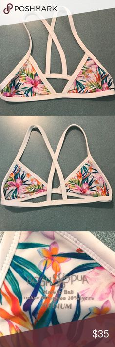 Bikini Top ALL TIME FAVORITE bikini I've ever owned. Unfortunately it is too small on me now. So cute. Size medium, RUNS SMALL. It's basically a size small. Posh Pua Swim Bikinis