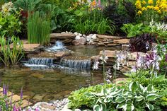 You can use your backyard pond for spending quality family time and have evening tea. The good thing about the backyard pond is that gurgling waterfalls are very much attractive and appealing. So if you haven`t decided on having a pond you must do it now. Backyard Water Feature, Ponds Backyard, Garden Ponds, Garden Stream, Backyard Waterfalls, Pond Landscaping, Landscaping With Rocks, Garden Waterfall, Natural Pond