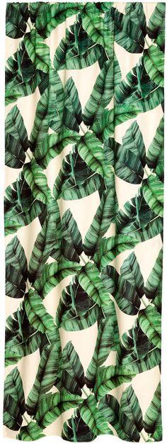 Banana Palm Leaf Curtain Panels - Dark green