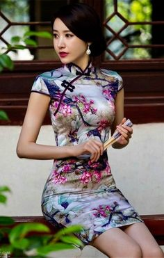New Winter Chinese Traditional Dress Silk Satin Cheongsam Print Stand Collar Cap Sleeve Qipao Dresses Short Style Dress T's media statistics and analyticsShe wears satin and invites me🌾🌹👄 Pixgallery CaGorgeous and so fitting/tight Beautiful Chinese Women, Beautiful Asian Girls, Pretty Asian, Oriental Dress, Cheongsam Dress, Sexy Asian Girls, Traditional Dresses, Traditional Styles, Sensual