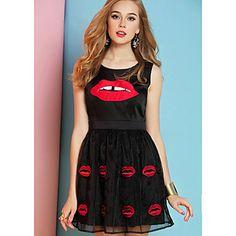 VIV Vrouwen Ronde Kraag Sexy Lips Borduren chiffon jurk (zwart) – EUR € 18.97