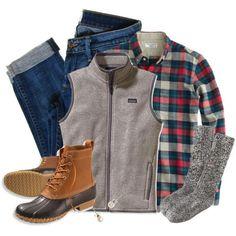 boots, vest, plaid for alaska outfit