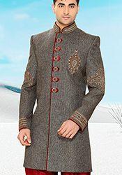 Grey Pure Ghicha Silk Indowestern Sherwani