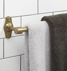 "Brass towel bar 24"" = $89. Other sizes available.  Train shelf available.  http://www.rejuvenation.com/catalog/products/tolson-single-towel-bar/items/c3901-18-in-cp"