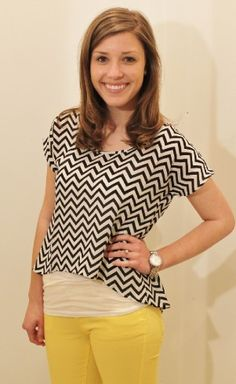 New Soul Top - Studio 3:19 $22.50 Love the contrast of black and white chevron with yellow!!