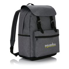 Laptop backpack with magnetic buckle straps. This two tone polyester laptop backpack offers a classic look that's perfect for the daily commute to school or work. Smartphone, Laptop Rucksack, Classic Looks, Travel Bags, Fashion Backpack, Backpacks, Nice, School, Promotional Giveaways
