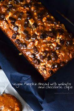 vegan pumpkin bread with chocolate chips and walnuts and vegan pumpkin muffins recipe