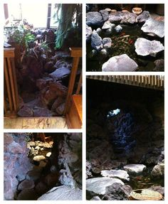 INDOOR Stone Steps that go downstairs to a Rec Room with a  Koi Pond in it!  (more pictures at the link)