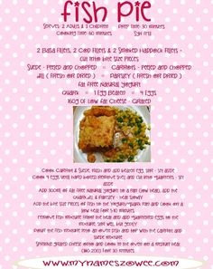 Fish Pie Slimming World Dinners, Slimming World Recipes Syn Free, Slimming Eats, Fish Recipes, Seafood Recipes, Recipies, Fish Pie, Healthy Eating Recipes, Rezepte