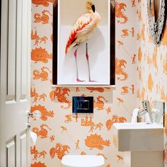 After downstairs toilet ideas and cloakroom ideas? Find your ideal style small cloakroom with these beautiful small cloakroom ideas. Flamingo Wallpaper, Bathroom Wallpaper, Of Wallpaper, Graphic Wallpaper, Heart Wallpaper, Bathroom Inspiration, Interior Inspiration, Interior Ideas, Deco Cool
