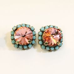 Coral Peach Rose aqua Blue Clip On Earrings Turquoise by TIMATIBO, $34.00