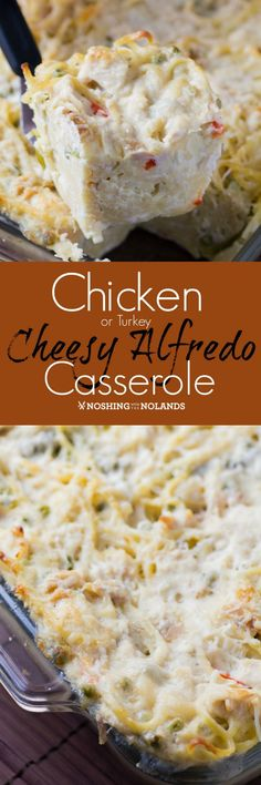 Chicken {Turkey} Cheesy Alfredo Casserole by Noshing With The Nolands is pure comfort food and a great way to use up leftover chicken or turkey.
