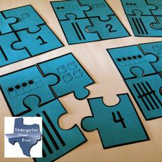 Kindergarten Down River in Texas: 1-20 Number Puzzles