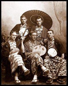 Young men in kimonos