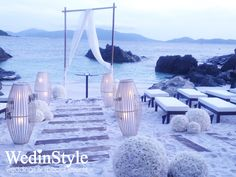 Beach wedding ceremony | Wedding Aisle decorated with Wire Lamp | By WedinStyle in Nha Trang, Vietnam
