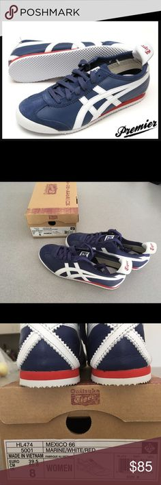 Onitsuka Tiger by Asics Mexico 66 Marine/White/Red Onitsuka Tiger by Asics Mexico 66® in Marine/White/Red sz US 8 NIB  Introduced in 1966, the Mexico 66® from Onitsuka Tiger™ by ASICS® were the first sneakers with the famous Tiger Stripes.  This brand is a member of the Sustainable Apparel Coalition.  Choose from either a combination of leather, suede and textile uppers for long, durable wear Textile lining with a perforated, cushioned footbed for all-day comfort. Rubber outsole provides…