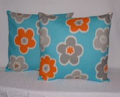 half off sale- Turquoise Pillow Cover- Orange Throw Pillow/Turquoise Accent Pillow/Orange Pillow Cover/Orange Flower