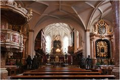 ornate Gothic interior of Hofkirche Innsbruck.