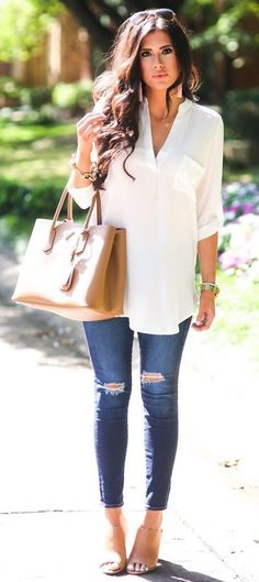 140 Casual Work Outfits Ideas 2018 Casual Summer Look – Summer Must Haves Collection. The post 140 Casual Work Outfits Ideas 2018 appeared first on Beauty Shares. Spring Work Outfits, Casual Work Outfits, Mode Outfits, Work Casual, Casual Fall, Winter Outfits, Casual Summer Outfits For Work, First Date Outfit Casual, Smart Casual Women Summer