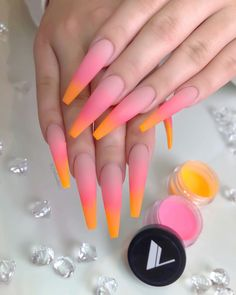 Nails ombre Valentino Acrylic Blends So Nice 🍊🍉 Which Collection/ Color Is Your Favori. Valentino Acrylic Blends So Nice 🍊🍉 Which Collection/ Color Is Your Favorite? Glow Nails, Aycrlic Nails, Dope Nails, Coffin Nails, Fall Nails, Blush Nails, Bright Summer Acrylic Nails, Pink Acrylic Nails, Matte Stiletto Nails