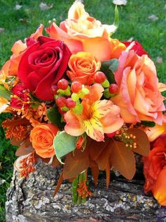 Fall weddings!  Coffee break roses, sunset alstro, hypericum berries and more make this bouquet for the bridesmaids one of my favorite!