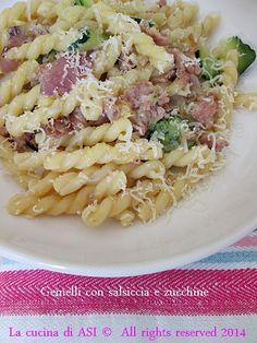 GEMELLI CON SALSICCIA E ZUCCHINE Ricetta primo piatto
