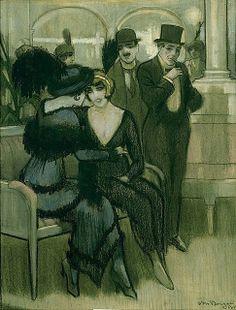 Kees Van Dongen - Two Seated Women, Two Standing Men (1913)