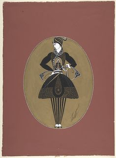 """Man's Costume Design in Black and Gold for """"Prince Amoureux,"""" George White's Scandals, New York  Erté (Romain de Tirtoff) (French (born Russia), St. Petersburg 1892–1990 Paris)  Date: 1925"""