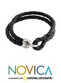 Men's leather braided bracelet, 'Warrior' at The Hunger Site