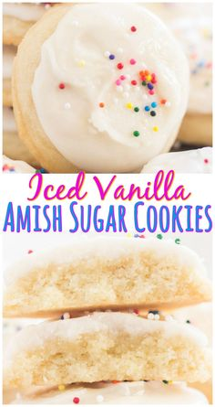 Soft, puffy, melt-in-your-mouth Iced Vanilla Amish Sugar Cookies! These could no… Soft, puffy, melt-in-your-mouth Iced Vanilla Amish Sugar Cookies! These could not be easier and are made with common pantry ingredients! Amish Sugar Cookies, Drop Sugar Cookies, Cream Cheese Sugar Cookies, Pumpkin Sugar Cookies, Vanilla Cookies, Iced Cookies, Cookies Et Biscuits, Yummy Cookies, Vanilla Icing