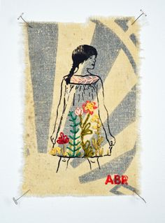 gocco print and embroidery on feed-sack 2013 sold Types Of Embroidery, Embroidery Applique, Embroidery Stitches, Burlap Crafts, Art For Art Sake, Textile Art, Fiber Art, Printmaking, Illustration Art