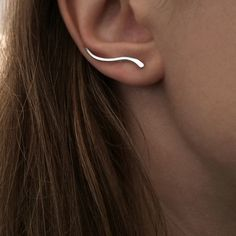 Wave Ear Climbers - Sterling Silver