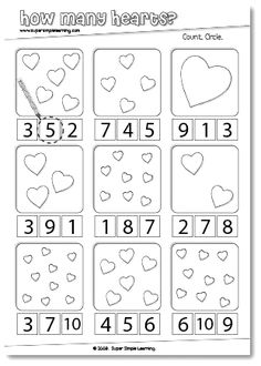 How Many Hearts? Counting worksheet for Preschool/Kindergarten. How Many Hearts? Numbers Preschool, Preschool Kindergarten, Preschool Worksheets, Preschool Learning, Fun Learning, Preschool Activities, Counting Worksheet, Number Worksheets, Teaching
