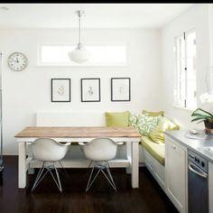 Kitchen bench & floors.