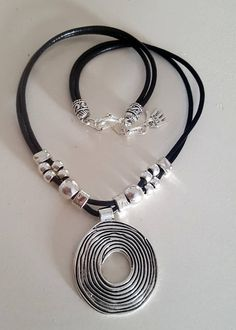 Set of leather necklace leather Bracelet Set Boho Ring
