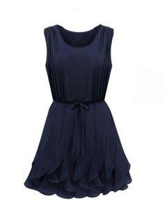 Sleeveless Chiffon Ruffle Dress Green Sapphire Blue - Dresses