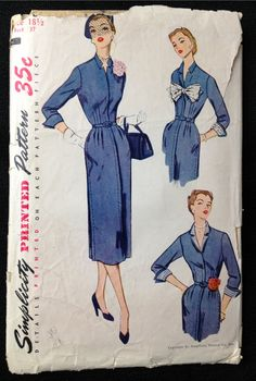 Vintage Pattern Simplicity 3498 Sewing pattern 1950s sheath wiggle dress Bust 37 on Etsy, $30.00