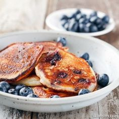 Oatmeal Blueberry Protein Pancakes contain several superfoods and are nutrient dense!  They keep me satisfied all morning!  #blueberry #protein #pancakes