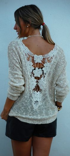 Stitch crochet to an open back sweater or top