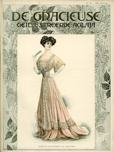 Cover of De Gracieuse, 1908 the Netherlands Edwardian Era Fashion, Edwardian Clothing, 1900s Fashion, Vintage Fashion, Belle Epoque, Fashion Prints, Fashion Art, Ladies Fashion, Style Édouardien