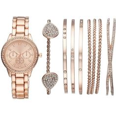 Women's Crystal Watch & Bracelet Set ($35) ❤ liked on Polyvore featuring jewelry, watches, pink, crystal bracelet watch, water resistant watches, pink jewelry, pink watches and pink dial watches