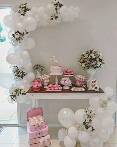 Balloon arch for a dessert bar or station at a baby shower, bridal shower, birthday party, or celebration Balloon Arch, Balloon Garland, Balloon Decorations, Birthday Decorations, Baby Shower Decorations, Wedding Decorations, Baby Birthday, 1st Birthday Parties, Baby Table