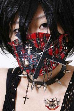 JAPAN Punk 2/3 Crazy Face Mask Red Tartan