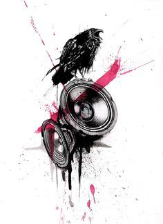 Trash Polka inspired tattoo design. I was asked to design a tattoo in the same stylistic vein as the red and black German Trash Polka duo, using a crow and two speaker cones as the starting point.