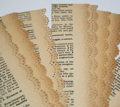 New Improved 9 Antique Dictionary Paper Lace Strips Reinforced White Paper Back. $3.00, via Etsy.