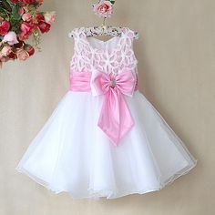 A Lot New Fashion Infant Christmas Dress For Baby Girls White Polyesther Dresses White Pink Bows Baby Girls Wedding African Dresses For Kids, Dresses Kids Girl, Girls Party Dress, Girl Outfits, Flower Girls, Flower Girl Dresses, Fashion Kids, Baby Girl Christmas Dresses, Kids Frocks Design