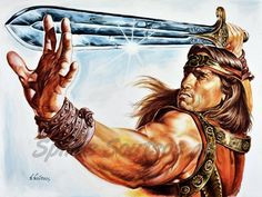 "Arnold Schwarzenegger ""Conan The Barbarian"" 1982 painting 