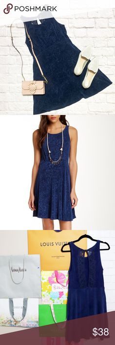 Free People Lacy Back Printed Blue Dress Free People Lacy Back Printed Blue Dress condition: GUC (good used condition) color: Navy blue print fit: See measurements, looks to be true to size other: N/A Free People Dresses