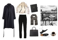 Manic Monday - Sea of Shoes - ivory silk shirt, black cigarette pants, black oxfords, grey scarf, trench coat