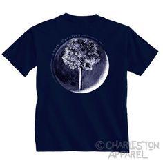 Palm In Moon Shirt Design  Men's and Ladies by CharlestonApparel Kevin Curran Charleston Apparel Palmetto State Navy Blue White Tshirt T-shirt Local Artist